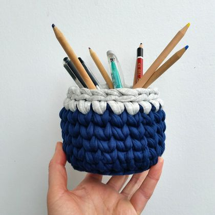 ECO Pencil pot (dark blue + grey)