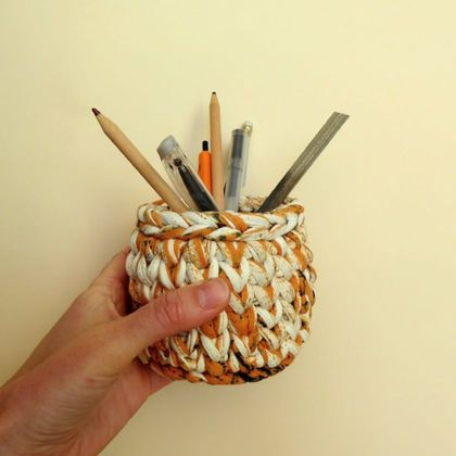Pencil Pot - Orange/White/Black