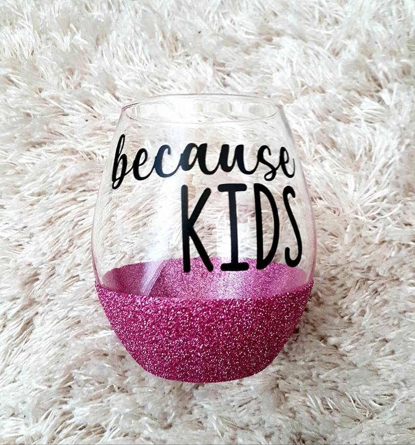 Glitter stemless wine glass