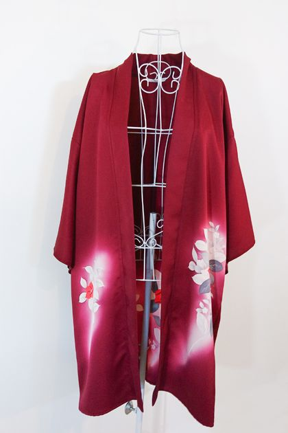 Vintage Japanese Kimono Silk - Modernised Haori Cardigan - wine red - long