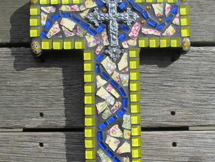 Mosaic Cross - Yellow and Blue tones