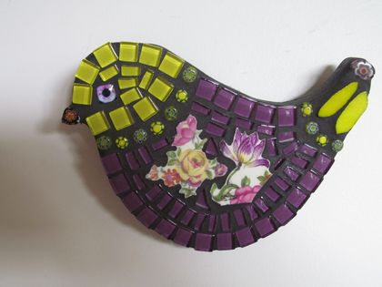 Mosaic Bird - Purple and Yellow tones with Crockery wing