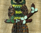 Mosaic Owl - Brown, Yellow and Green tones