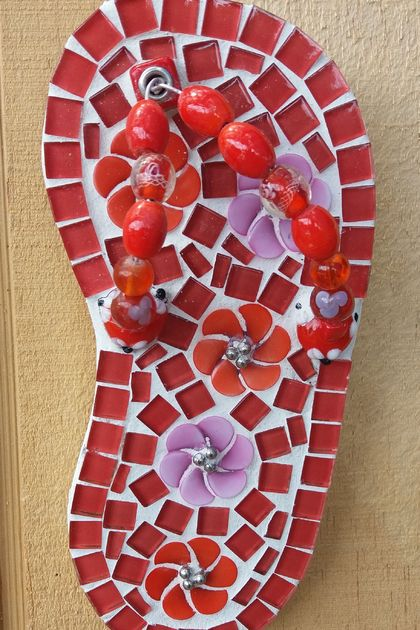 Mosaic Pink and Red toned Jandal