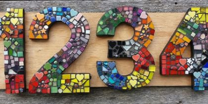 Four Large Mosaic House or Letterbox Numbers