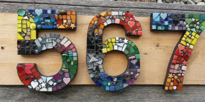 Two Large Mosaic Letterbox or House Numbers