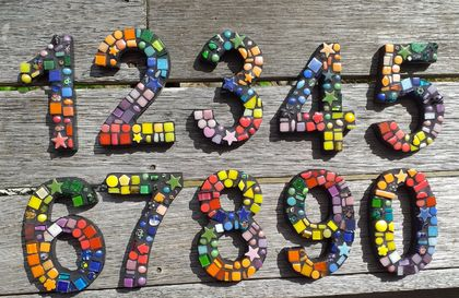 Mosaic Letterbox or House number in Rainbow colors - This listing is for 1 number