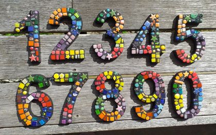 Mosaic House or Letterbox Number in Rainbow colors - this listing is for 2 numbers