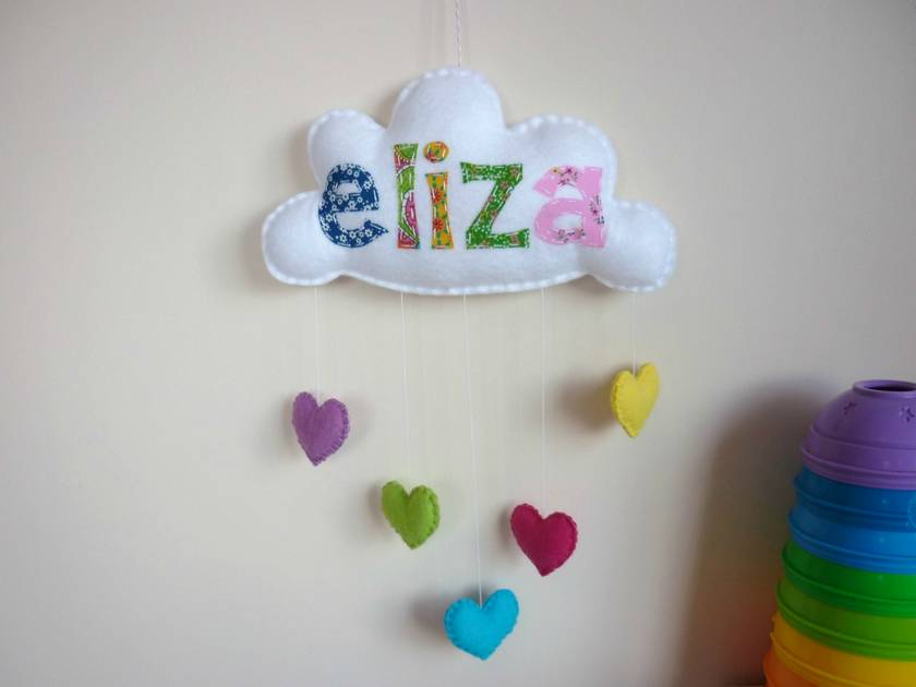 Quot Rainbow Cloud Quot Personalised Applique Baby Mobile Wall