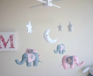 Dreamtime Baby Elephants - Pink and Grey Felt Baby Mobile