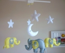 Dreamtime Baby Elephants - Lemon and Grey Felt Baby Mobile - Made to order