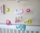 Baby Elephants, Happy Raincloud and Flowers - Felt Baby Mobile