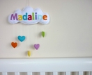 """Rainbow Cloud"" - Personalised applique baby mobile, wall hanging or door sign"