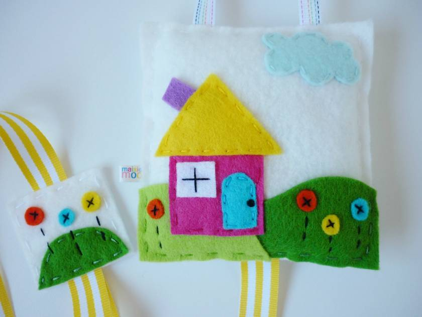 Rainbow Cottage Hair Clip Tidy - Hand Stitched Felt Creation