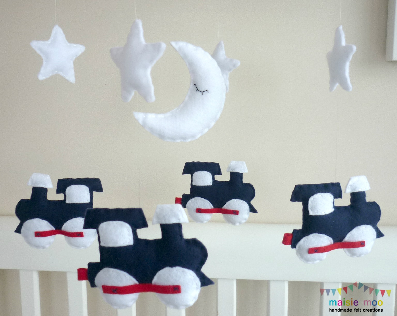 dream train  baby boy mobile in navy red and white  felt - dream train  baby boy mobile in navy red and white