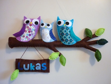 Personalised Wall Art - Rainbow Owl Family