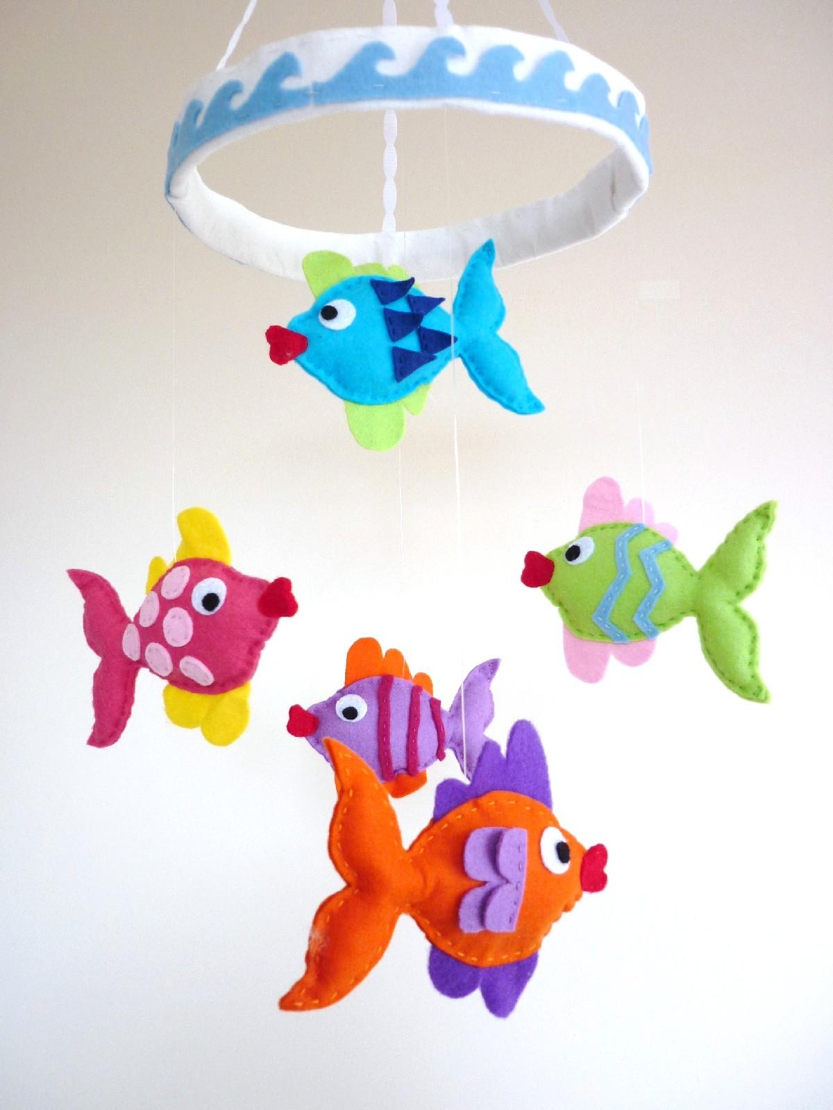 Rainbow Kissing Fish Baby Mobile Felt