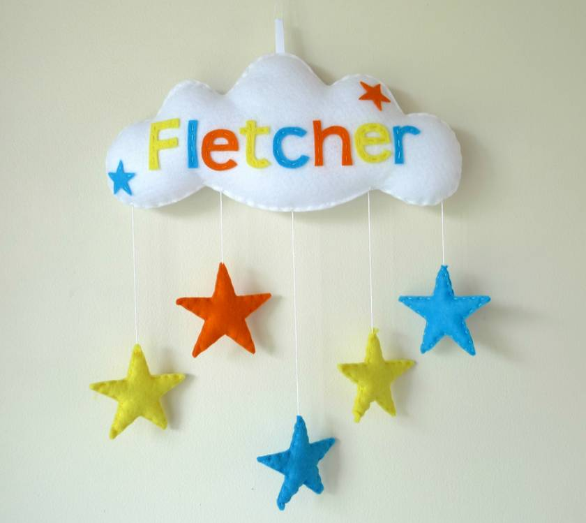 Star Cloud- Personalised Baby Mobile Wall Hanging Door Sign & Star Cloud- Personalised Baby Mobile Wall Hanging Door Sign | Felt