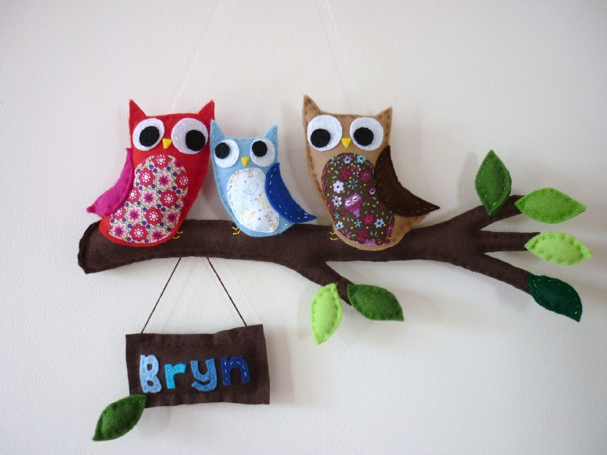 Autumn Owl Family - Personalised Wall or Door Hanger & Autumn Owl Family - Personalised Wall or Door Hanger | Felt