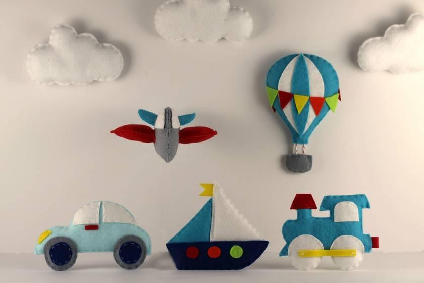 Felt Transportation Sewing Pattern set DIY Baby Mobile Pattern Airplane, Train, Car, Boat, Hot Air Balloon,felt sewing pattern, garland, toy