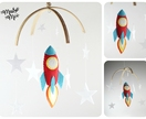 Baby Mobile - Baby Shower Gift - New Baby - Cot Mobile - Rocketship Baby Mobile - Ready to send - Sweet Petite Baby Mobile