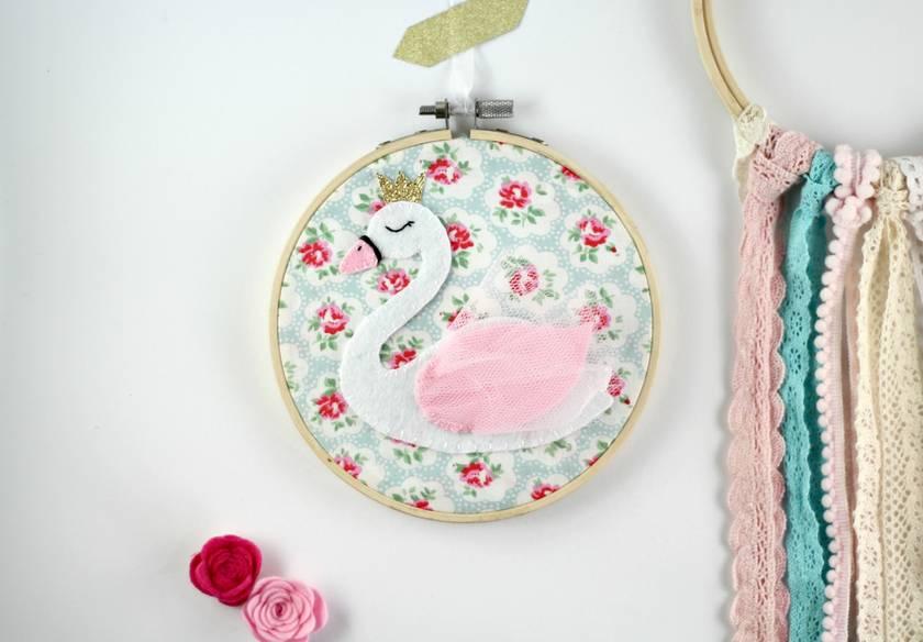 Nursery Art - Baby Shower Gift - New Baby - Hoop Art - Swan Art - Swan Nursery