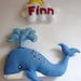 Blinky the Blue Whale - Personalised door sign or wall hanging