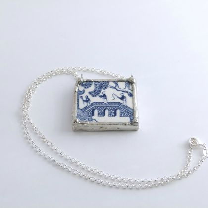Blue Willow bridge pendant