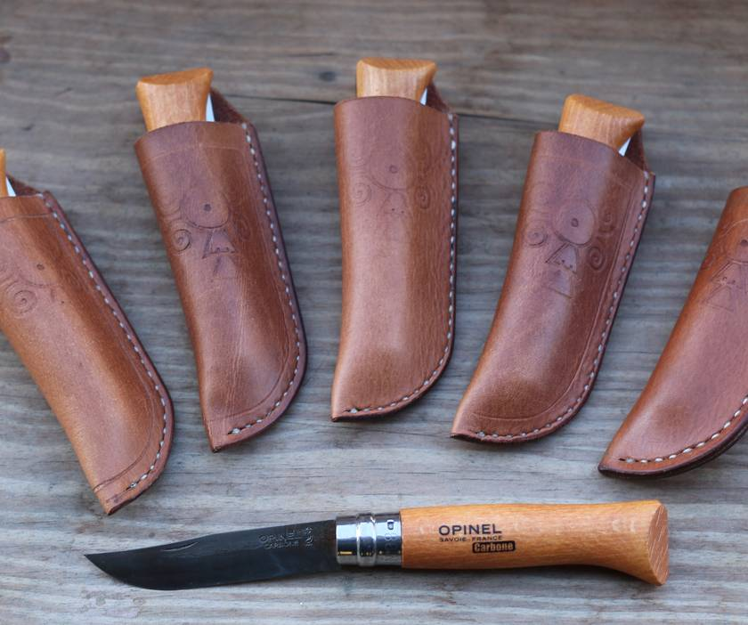 Leather Sheath with #8 Opinel Knife