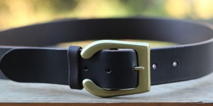 Leather belt with solid brass hand forged buckle