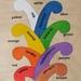 Coloured Koru Maori/English Colours 8 piece wooden puzzle