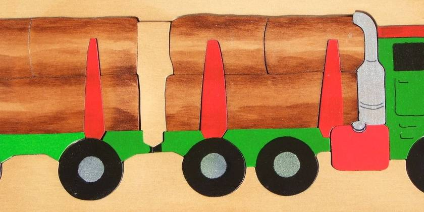 Logging Truck 25pc Wooden Handcrafted Puzzle