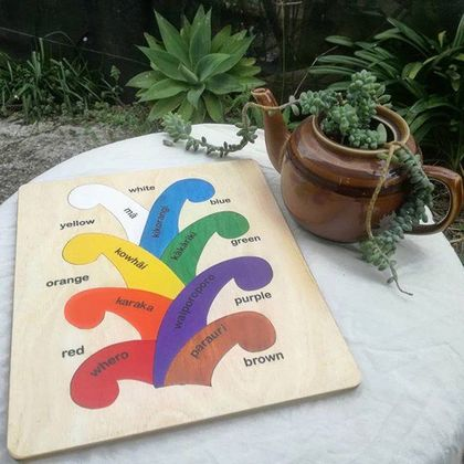Coloured Koru Māori/English 8pc Wooden Puzzle
