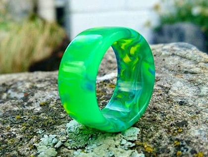 Resin Ring *Toxic Exchange* Size USA 12 1/4 or UK/AUS Y 1/2  *Free Shipping*