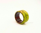 Resin & Wood Ring *Green Maple with Tanzanite Inlay x G Streak* Size USA 12 1/4  UK/AUS Y 1/2 *Free Shipping*