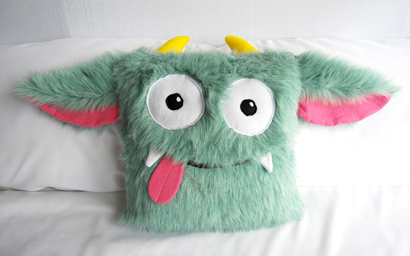 CUSHION/TOY - Fur, Felt and Canvas Monster Cushion