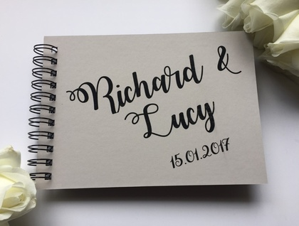 GUEST BOOK, ALBUM - A5 - RIBBON WRITING - customise your details!