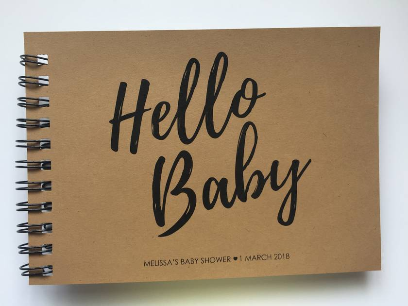 GUEST BOOK, ALBUM - A5 - HELLO BABY - personalise your details!