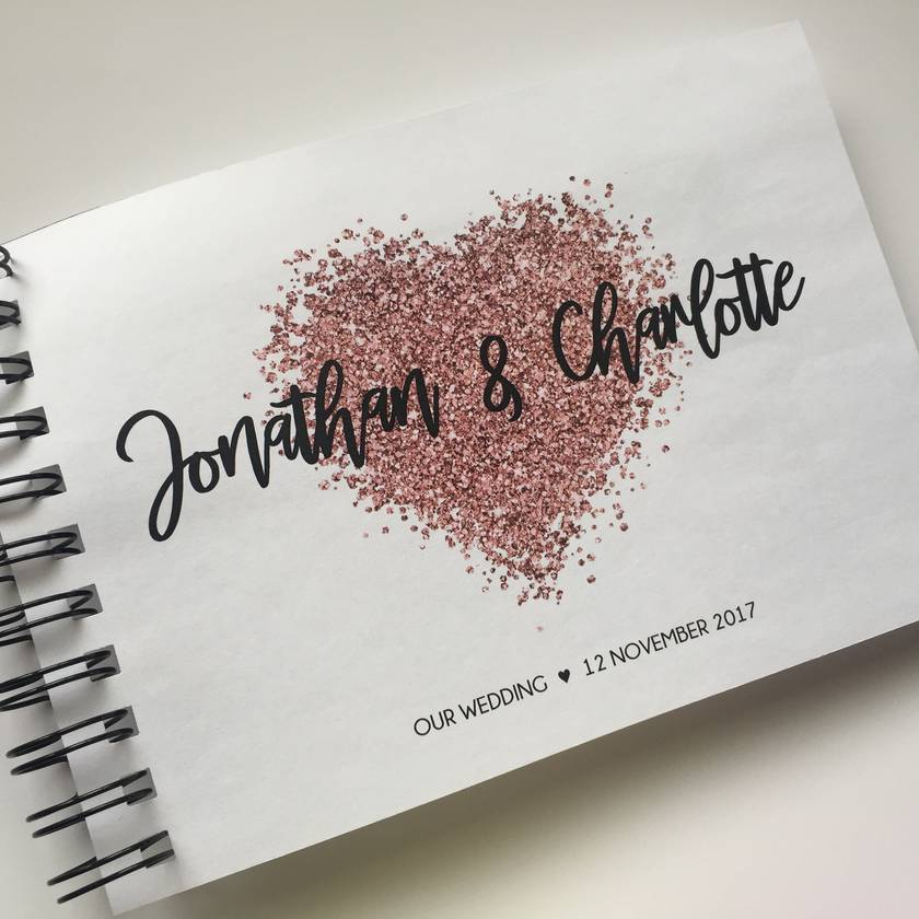 GUEST BOOK, ALBUM - A5 - ROSE GOLD HEART - personalise your details!