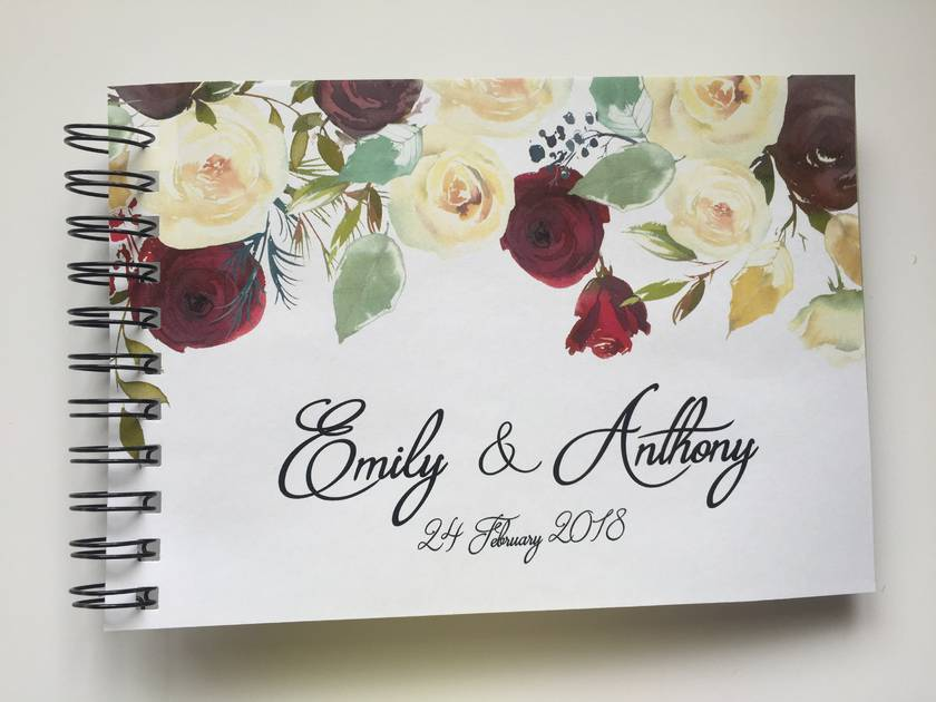 GUEST BOOK, ALBUM - A5 - FLORAL DROP - personalise your details!