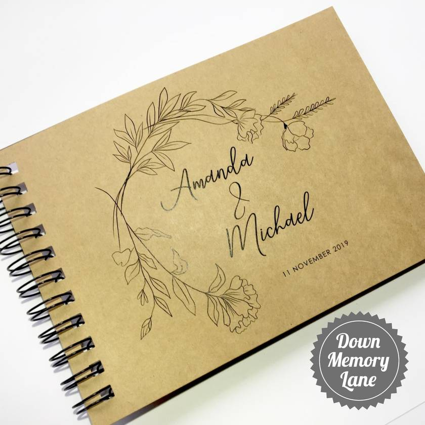GUEST BOOK, ALBUM - A5 - SIMPLE BOTANICALS ON KRAFT