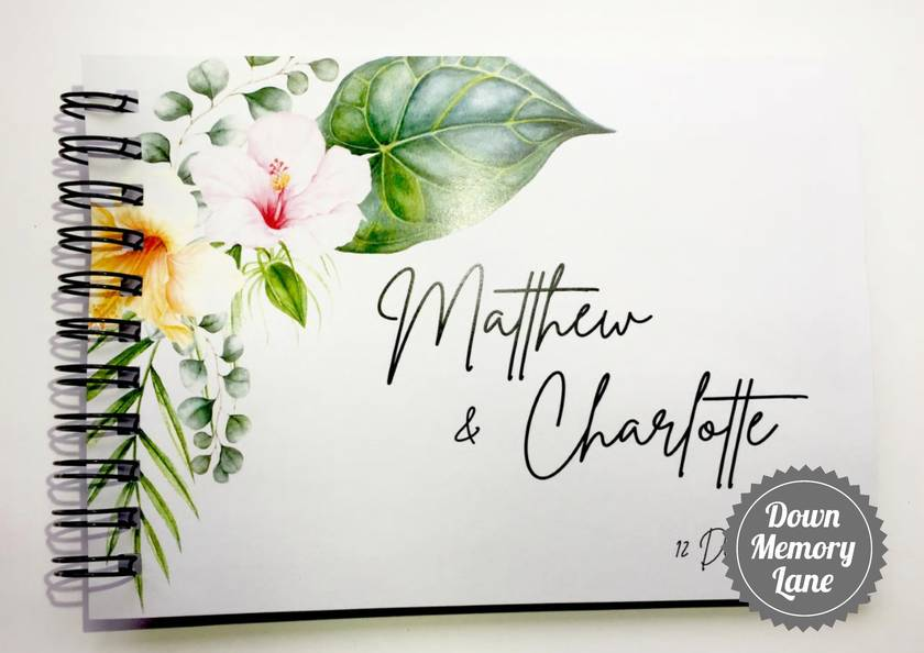 GUEST BOOK, ALBUM - A5 - HIBISCUS ON WHITE