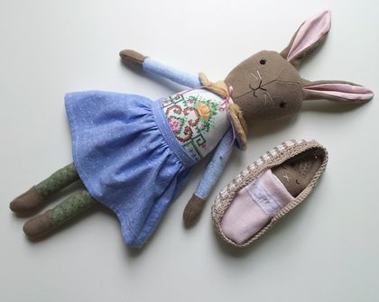 Rag Doll Bunny Rabbit with Baby Bunny Play Set