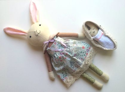 New zealands online marketplace for handmade goods felt heirloom bunny rabbit with baby in moses basket wool bunny named veronica negle Images