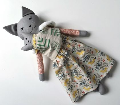 Handmade Cat Doll with Kitten in Sling
