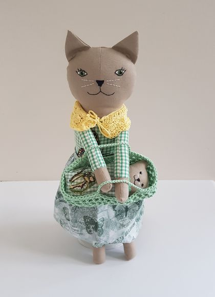 Cat Doll and Kitten Playset with Butterfly Design