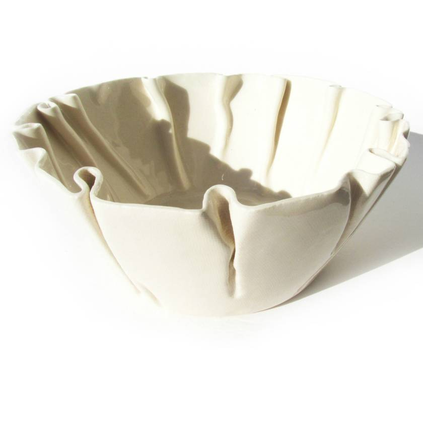 Large Wrinkled Ceramic Bowl