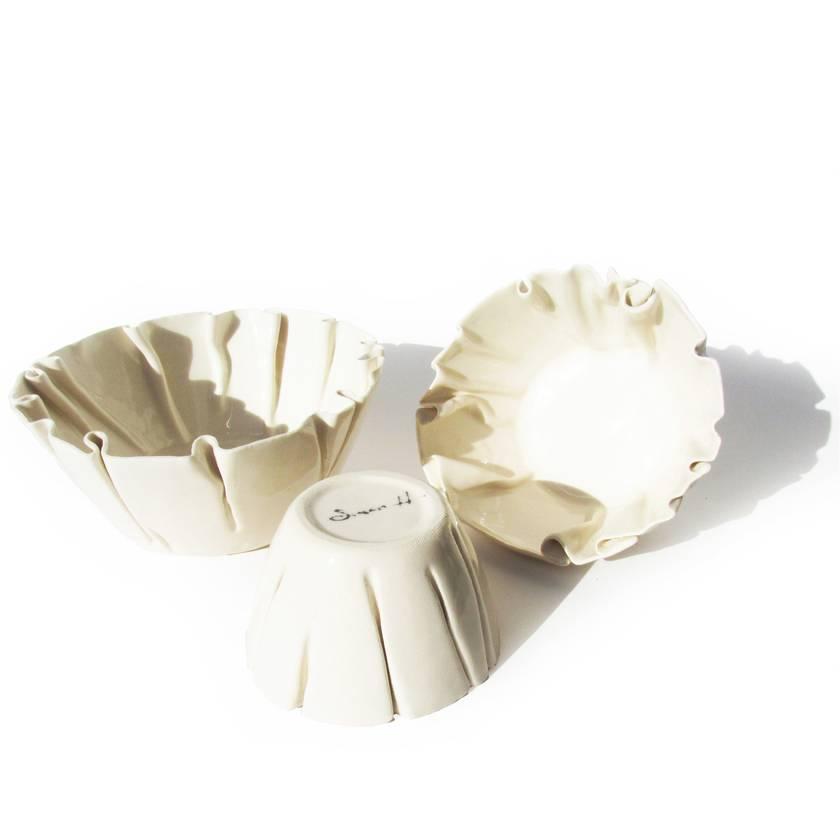 Set of 3 Wrinkled Ceramic Bowls