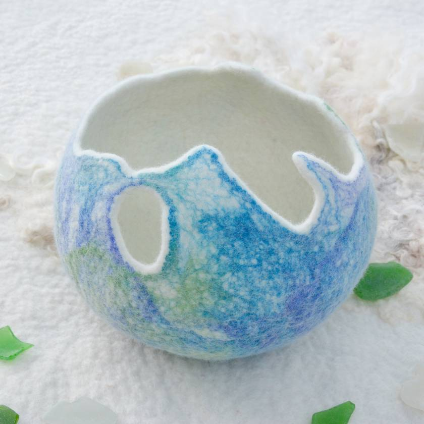 Ocean Colours Marbled Bowl, Hand Felted