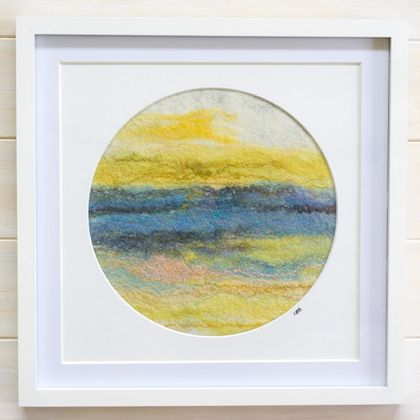 "REDUCED!  Abstract Fibre Art ""The End of the Day"", Round, Framed"